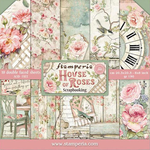 House of Roses 8x8 Paper Pad by Stamperia - 10 Double Sided Designs-Item #SBBS08