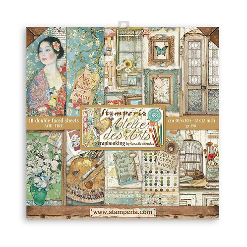 Stamperia-Atelier Des Arts - 12x12 Paper Pad - 10 Sheets - 22 Designs