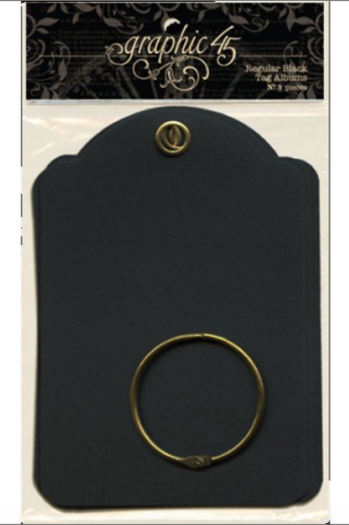 Graphic 45 Regular Tags with Ring - Black