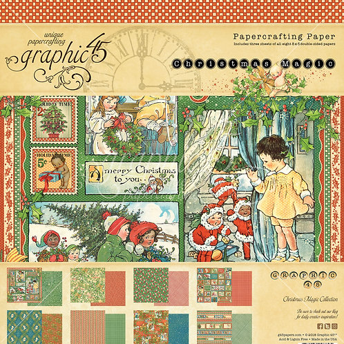 Graphic 45 - Christmas Magic -  8 x 8 Paper Pack