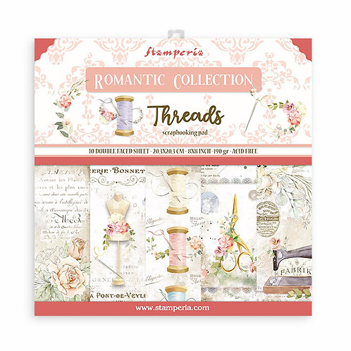 PRE ORDER-Stamperia - Threads - 8x8 Paper Pad - 10 Sheets - 22 Designs
