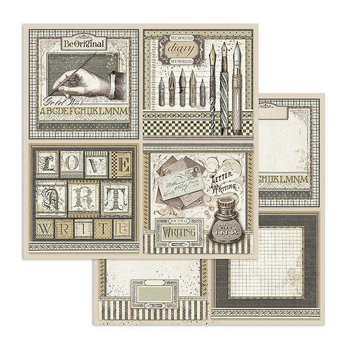 Stamperia-Calligraphy Cards- 2 - 12x12 Single Sheets