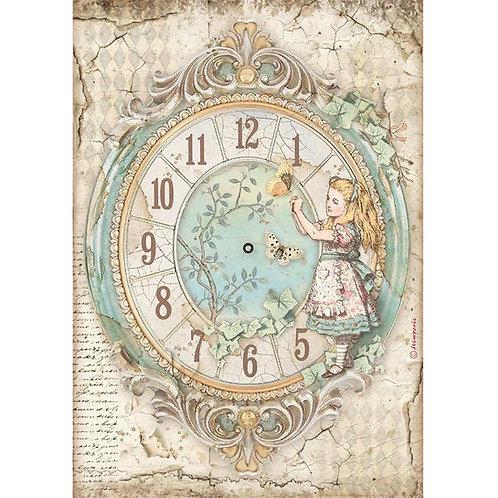 PRE ORDER Stamperia - Alice - Clock - Rice Paper A4