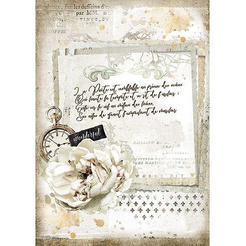 Stamperia - Journal - Manuscript & Clock - Rice Paper A4