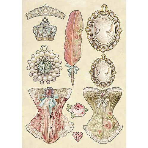 Stamperia - Princess's Jewelry - Wooden Shapes A5 - Item #KLSP081