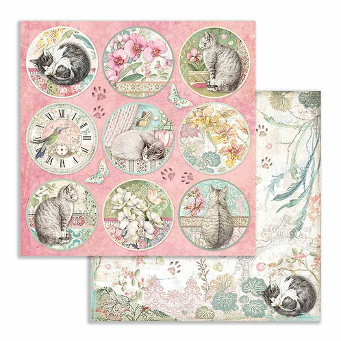 Stamperia-Orchids & Cats Rounds- 2 - 12x12 Single Sheets