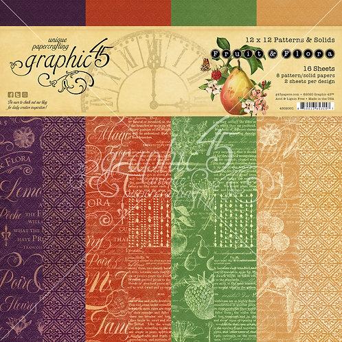 Graphic 45-Fruit & Flora-Patterns & Solids-12x12 Paper Pad