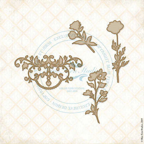 Blue Fern Studios - Eclectic Charm - Chipboard - Flourish and Flowers