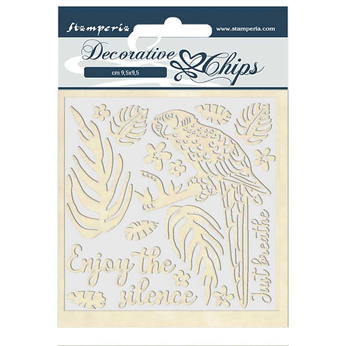 PRE ORDER - Stamperia - Decorative Chips - Amazonia - Parrot
