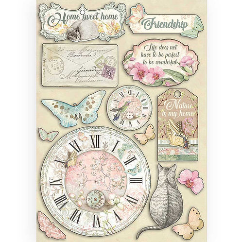 Stamperia - Orchids & Cats - Clocks & Labels - Wooden Shapes