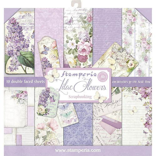 Lilac Flowers by Stamperia-12x12 Paper Pack