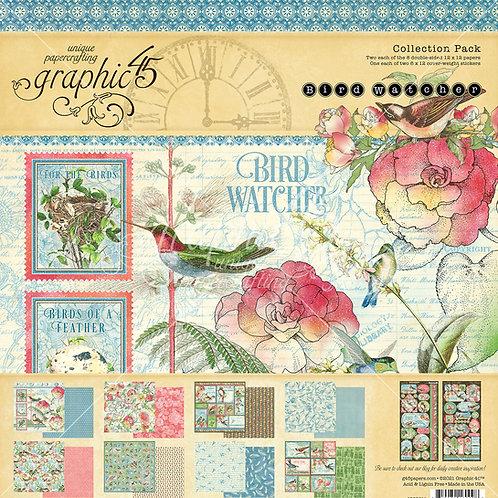 PREORDER Graphic 45-Bird Watcher-12x12 Collection Pack w/Stickers
