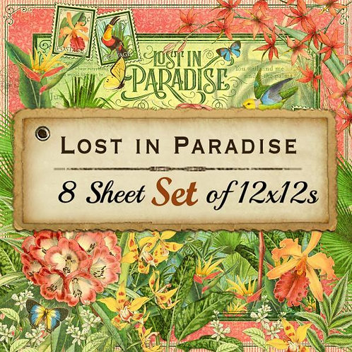 Graphic 45-Lost in Paradise-8 Double-Sided-12x12 Designer Sheet Set