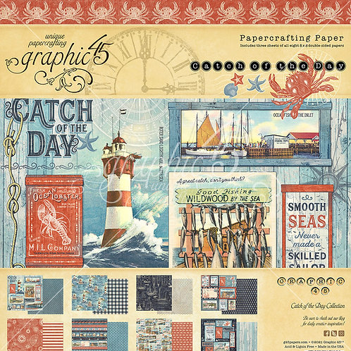 PREORDER Graphic 45-Catch of the Day-8x8 Paper Pad