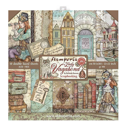 Stamperia - Lady Vagabond - 12x12 Paper Pad - 10 Sheets - 22 Designs