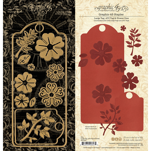 Graphic 45-Large Tag, ATC Tag and Flower Dies