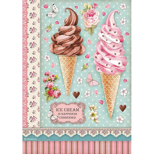 Stamperia -Sweety Ice Cream - Rice Paper A4-Item #DFSA4504