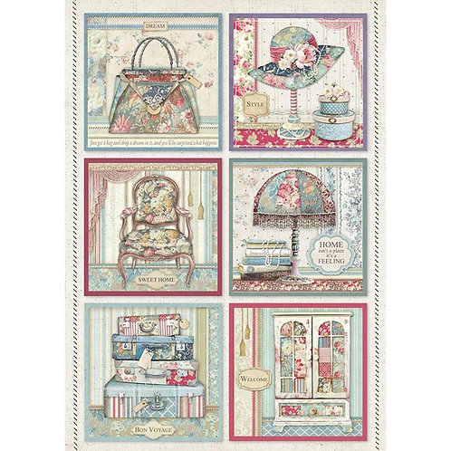 Grand Hotel Cards Rice Paper by Stamperia-Item #DFSA4400