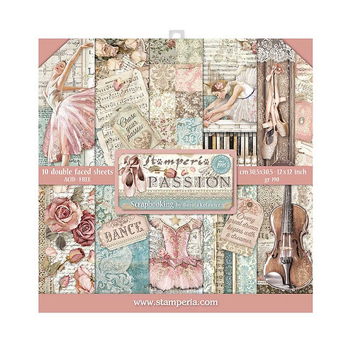 PRE ORDER-Stamperia - Passion - 12x12 Paper Pad - 10 Sheets - 22 Designs