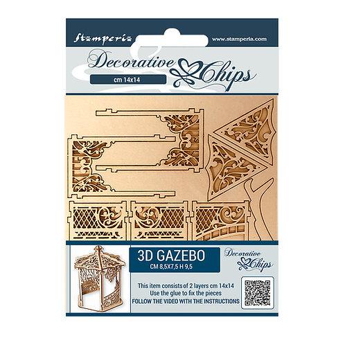 "Stamperia-Sleeping Beauty-3D Gazebo -2 - 5.5""x5.5""-Decorative Chip Shts"