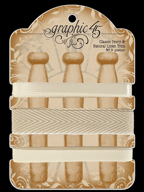 PRE ORDER Graphic 45 - Classic Ivory & Natural Trim - Ribbon