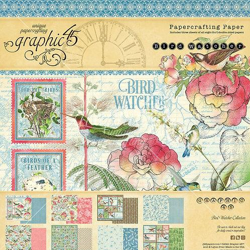 PREORDER Graphic 45-Bird Watcher-8x8 Paper Pad