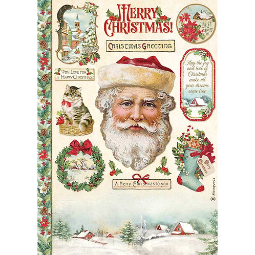 Stamperia - Classic Christmas - Santa Claus - Rice Paper A4