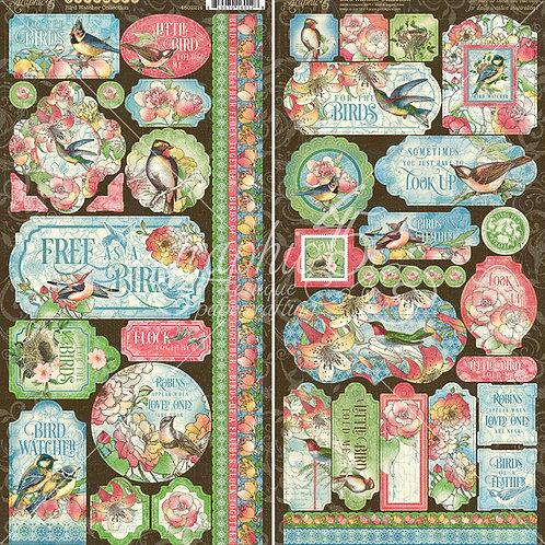PREORDER Graphic 45-Bird Watcher- 2 - 6 x 12 Sticker Sheets