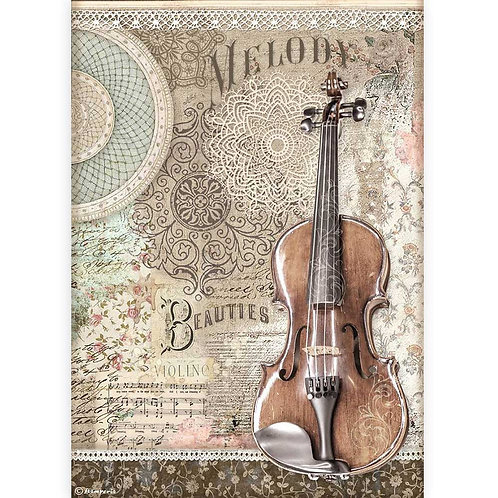 PRE ORDER - Stamperia - Passion - Violin - Rice Paper A4
