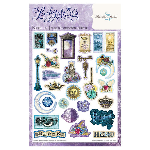 Blue Fern - Lucky Star - Ephemera Die Cuts - 29 Pieces