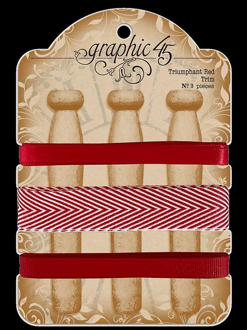 PRE ORDER Graphic 45 - Triumphant Red Trim - Ribbon
