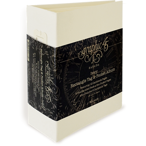 Graphic 45-Rectangular Tag & Pocket Album-Ivory