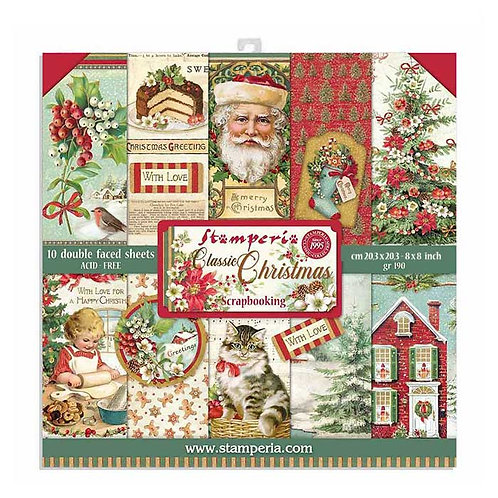 Stamperia-Classic Christmas 8x8 Paper Pack-10 Sheets - 22 Designs