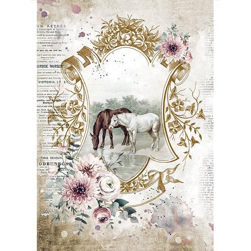 Stamperia - Horses - Lake - Rice Paper A4
