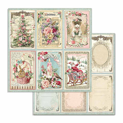 Stamperia-Pink Christmas Cards  - 2 - 12x12 Single Sheets-Item #SBB702