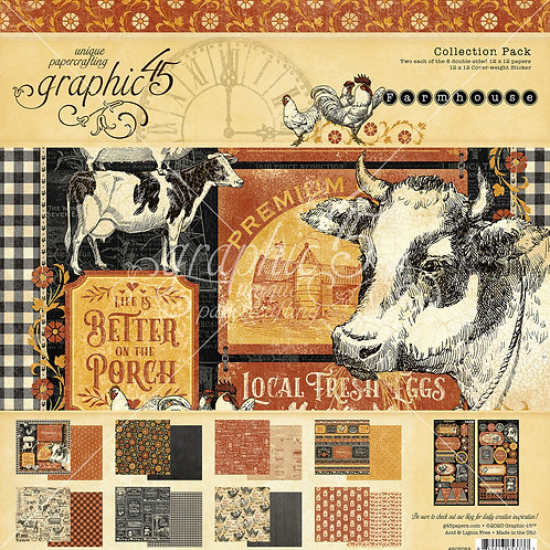 Graphic 45-Farmhouse-12x12 Collection Pack w/Stickers