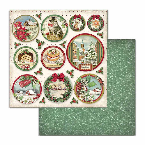 Stamperia-Merry Christmas Rounds- 2 - 12x12 Single Sheets-Item #SBB704