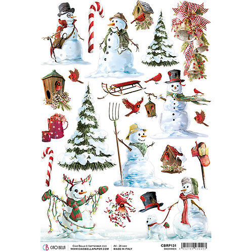 Northern Lights-Snowmen - A4 Rice Paper by Ciao Bella