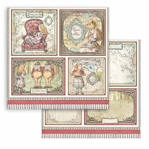 Stamperia - Alice  - Cards - 2 - 12x12 Single Sheets