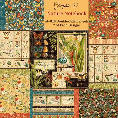 Graphic 45 - Nature Notebook - 8x8 Paper Pad (No Cover)