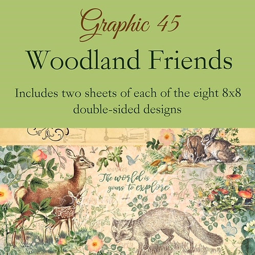 Graphic 45-Woodland Friends- 16 - 8x8 - Double-Sided Single Sheets (no cover)