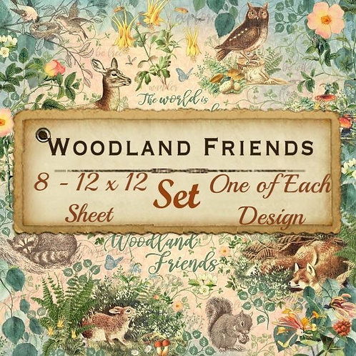 Graphic 45-Woodland Friends-8 Single 12x12 Double-Sided Sheets (No Cover)