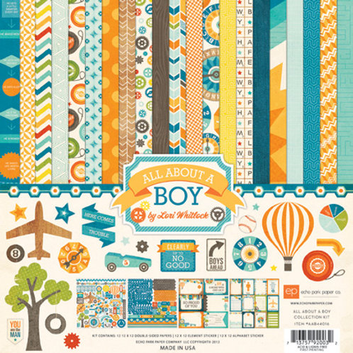 Echo Park - All About A Boy-12 - 12x12 Double-Sided Papers + 12x12 Sticker Sheet