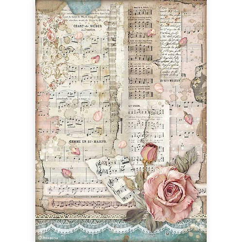 PRE ORDER - Stamperia - Passion - Roses & Music - Rice Paper