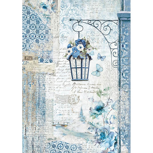 Blue Land Lamp Rice Paper by Stamperia-Item #DFSA4336