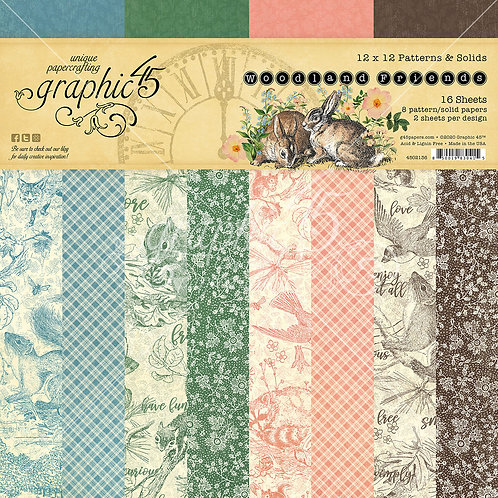 Graphic 45-Woodland Friends-Patterns & Solids-12x12 Paper Pad