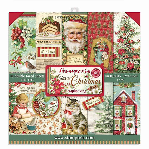 Stamperia-Classic Christmas 12x12 Paper Pad-10 Sheets - 22 Designs