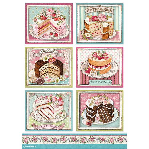 Stamperia -Sweety Patisserie - Rice Paper A4-Item #DFSA4500