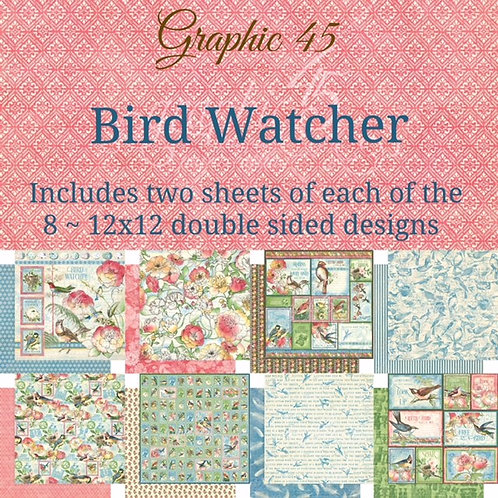 G45-Bird Watcher-16 Single 12x12 Double-Sided Sheets (No Cover)