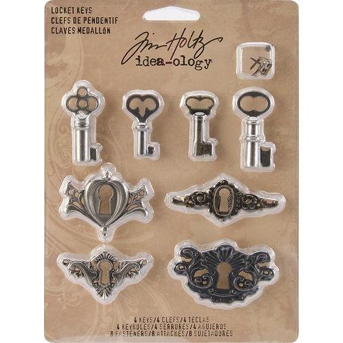 Idea-Ology-Metal Locket Keys & Keyholes 8/Pkg